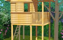 Drewniany domek ogrodowy dla dzieci - projekt domku