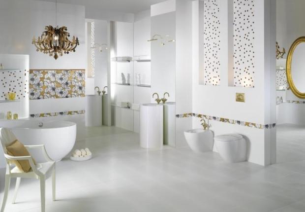 Elegancka satynowa biel w królewskiej łazience